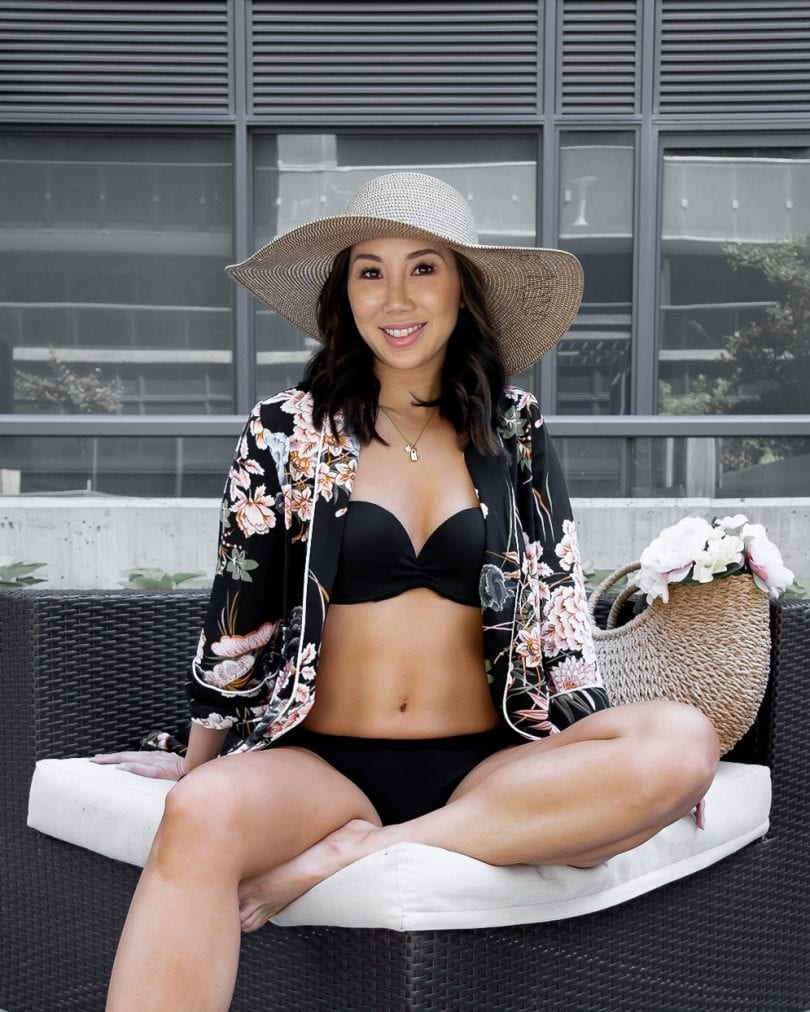 Summer OOTD - black bikini and floral kimono