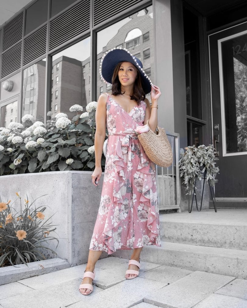 Summer outfit ideas - floral jumper with floppy hat, straw hat and sandals