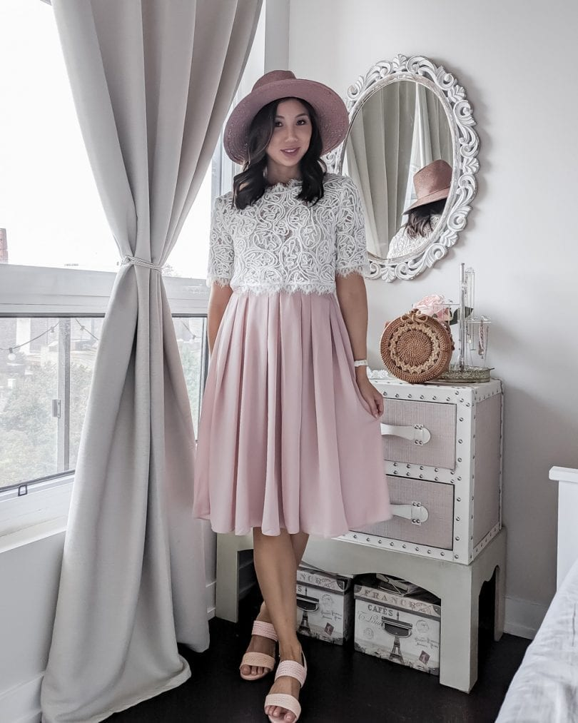 OOTD lookbook - Pink Skirt & Lace Top