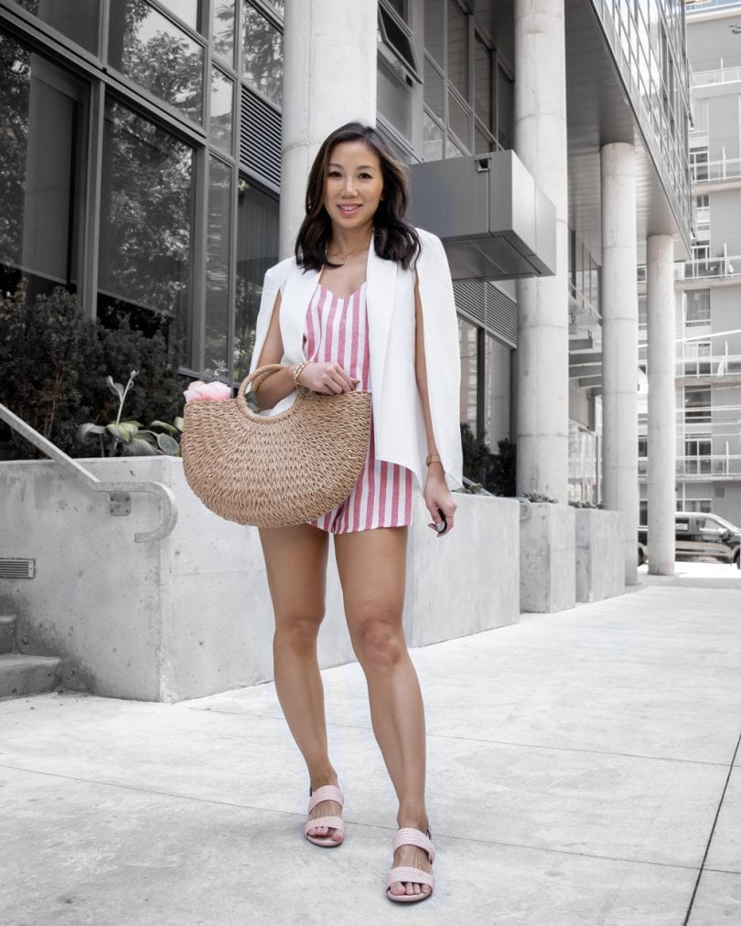 Summer Style - striped romper, cape blazer, woven bag and pink sandals