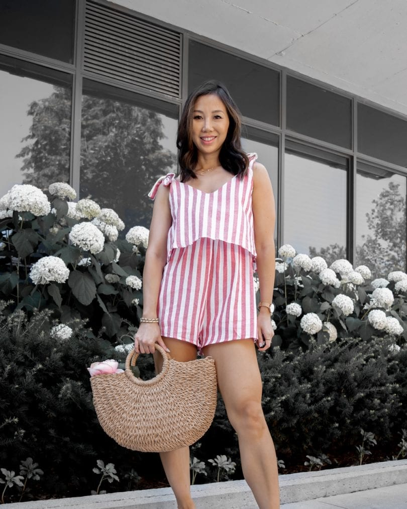 Summer style - Fashion Blogger YesMIssy wearing striped romper with straw bag