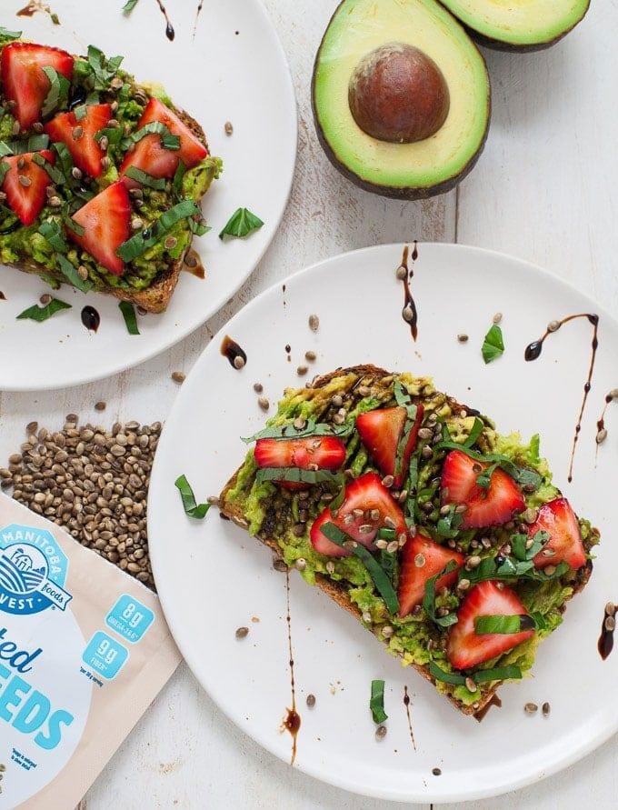 Easy Low Sugar Breakfast Recipes - Strawberry Basil Avocado Toast