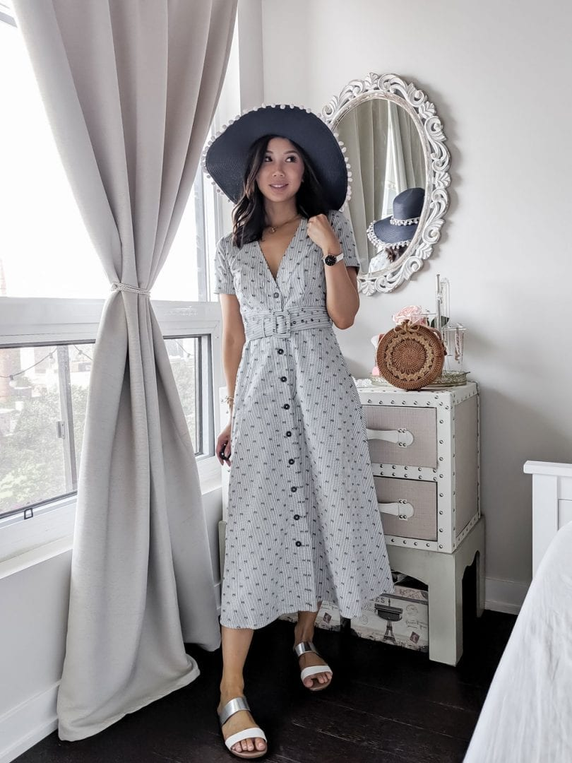 Brunch outfit ideas - midi dress and floppy hat