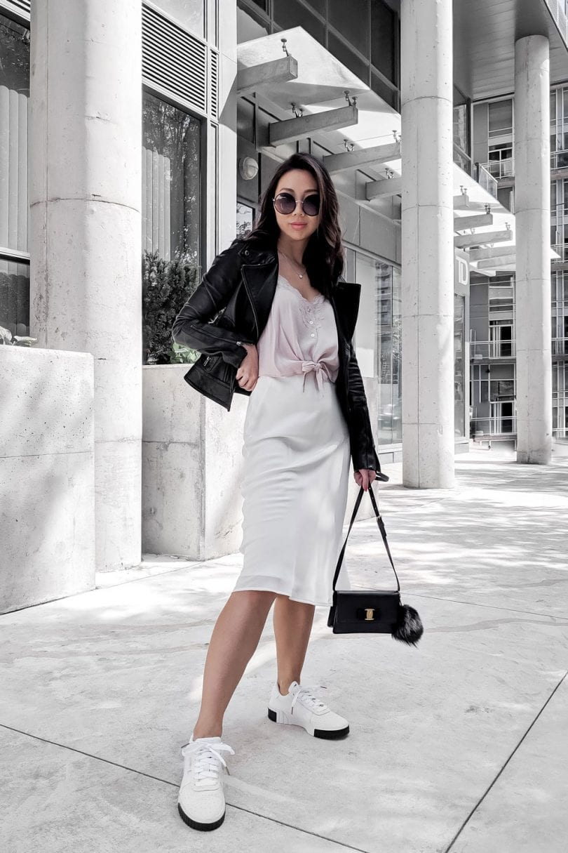 Fall OOTD: silk midi dress, pink cami and leather jacket. Fashion Blogger YesMissy
