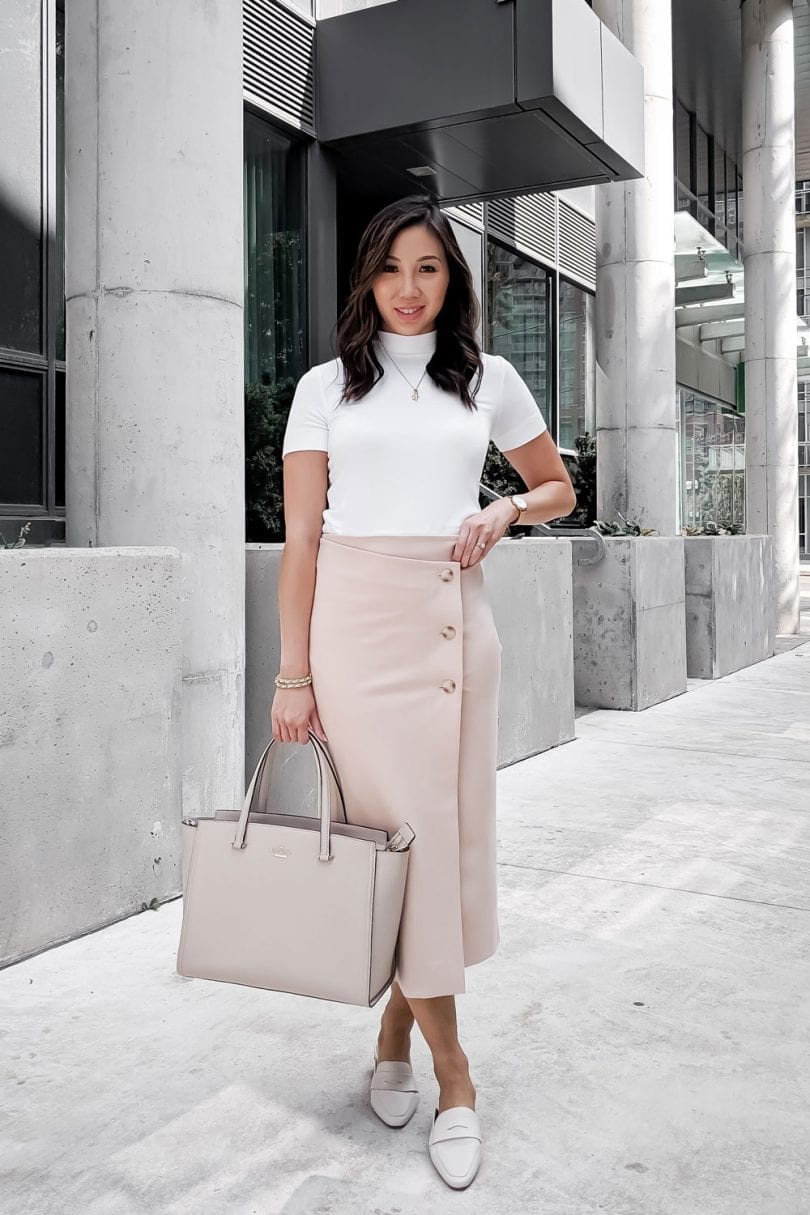 Office Outfit #OOTD - pink midi skirt, white turtleneck, kate spade bag