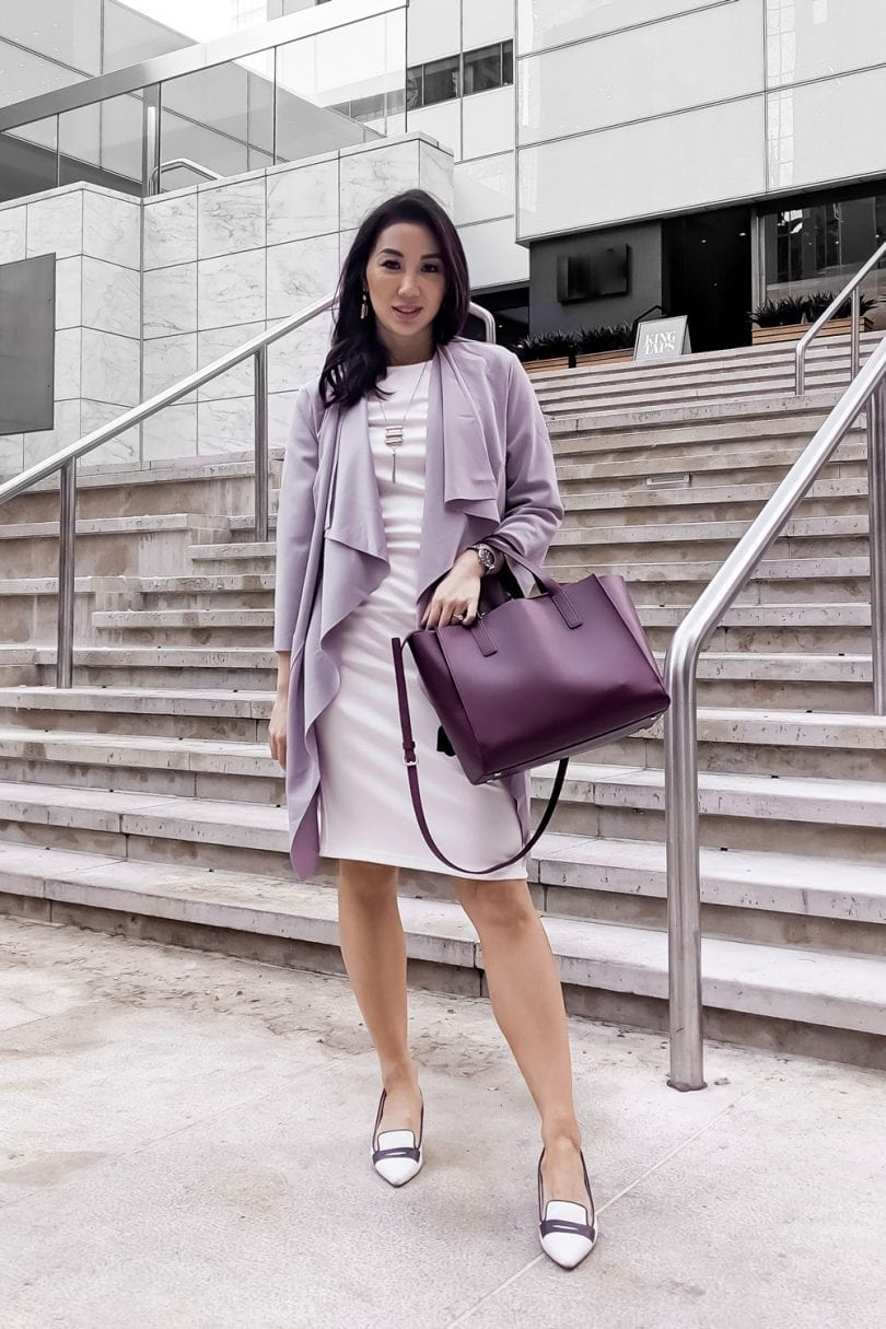 Work Outfit Inspiration - white shift dress, purple jacket, pumps, professional look