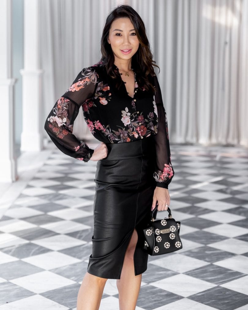 Office #OOTD - floral top and black leather pencil skirt, #workwear #lotd #Evernew #Forevernew