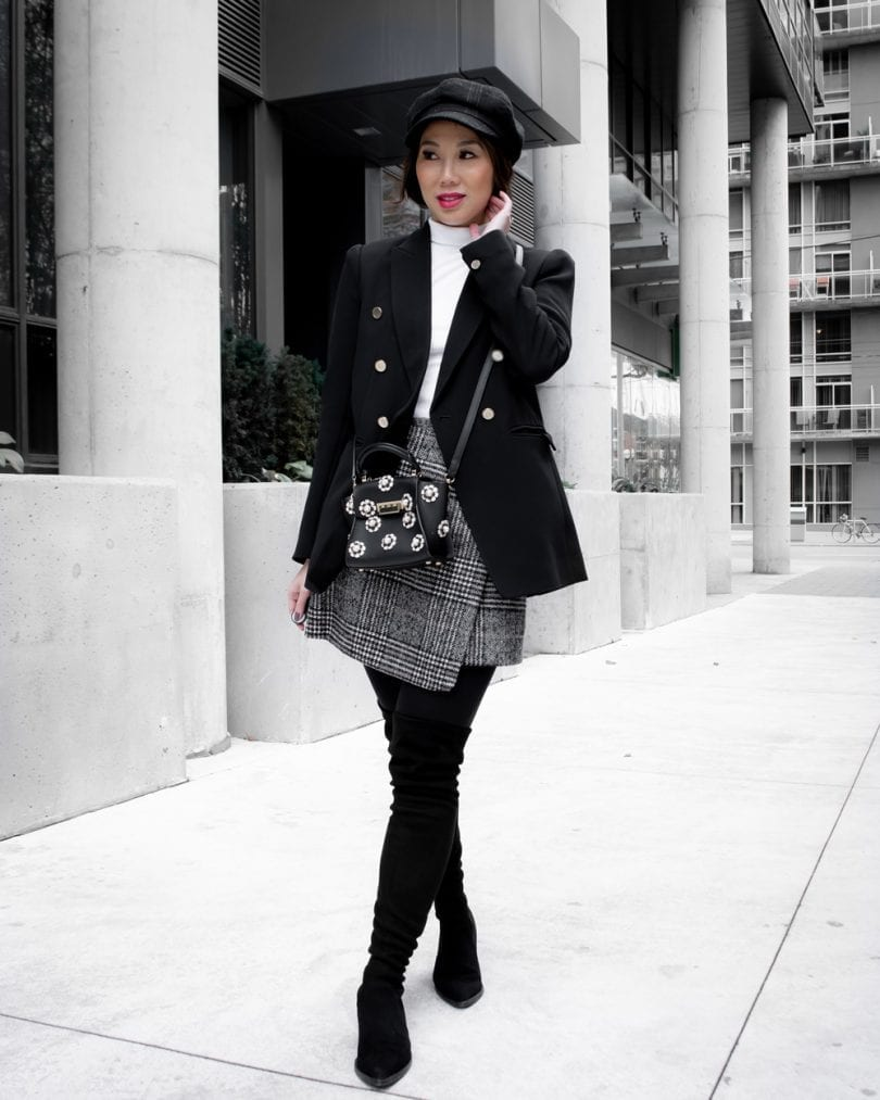 Workwear Outfit - Checkered Skirt, black blazer, OTK boots, newsboy cap