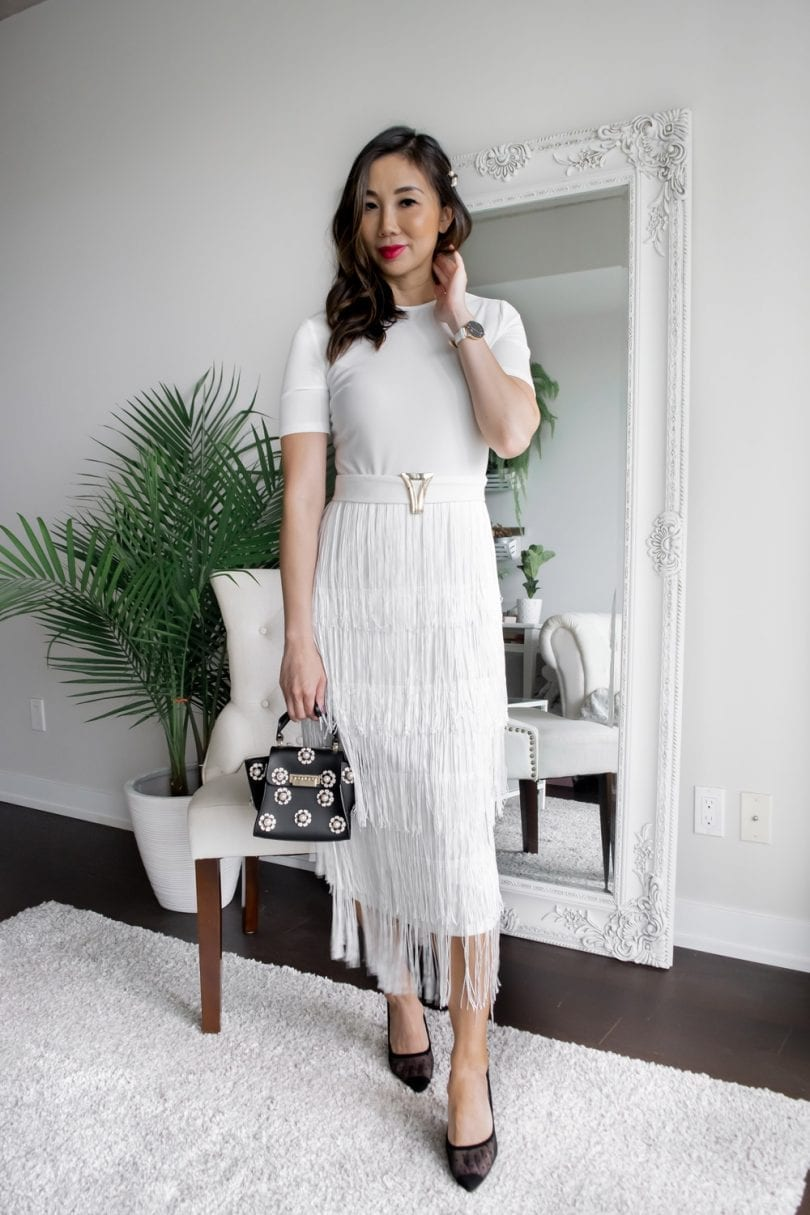 Party Dress Ideas - White fringed dress with belt