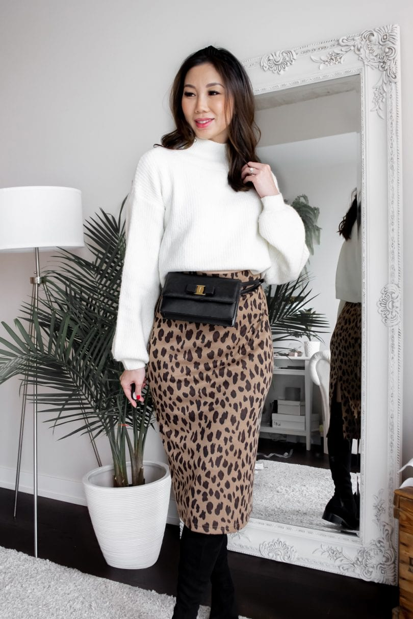 #OOTD - leopard midi skirt, white sweater and waist bag with headband