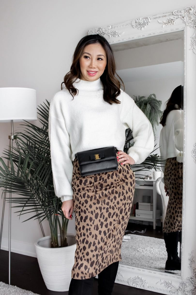 #OOTD - leopard midi skirt, white sweater, waist bag and headband