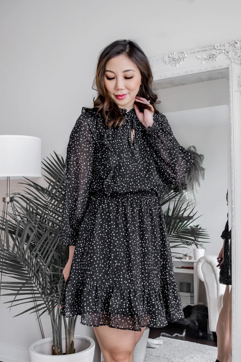 #OOTD - black polka dot dress from Cupcakes and Cashmere
