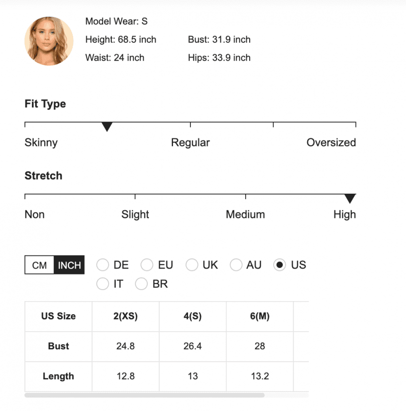 An example of the size and fit section of SHEIN.com