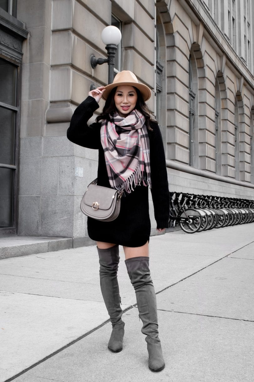 Fall Outfit Ideas - Sweater dress and checkered scarf with hat