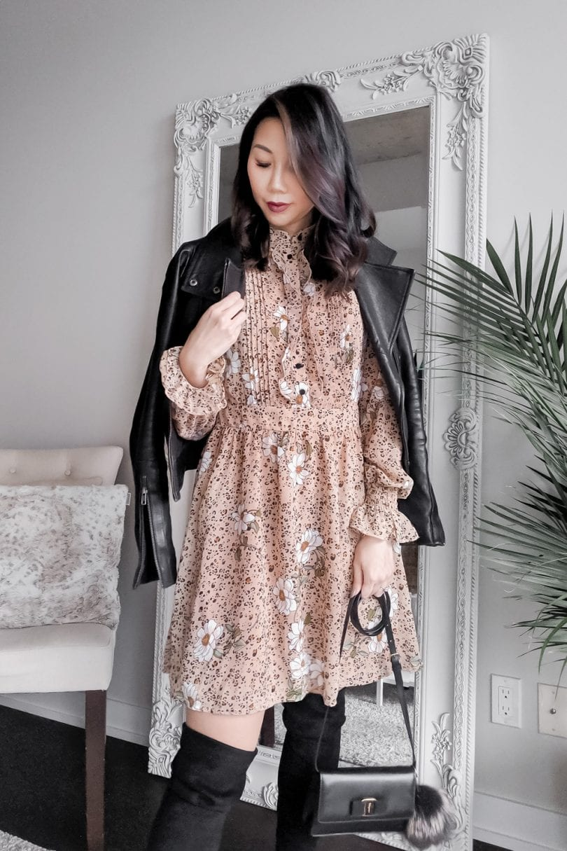 Fall lookbook - leather jacket and floral dress