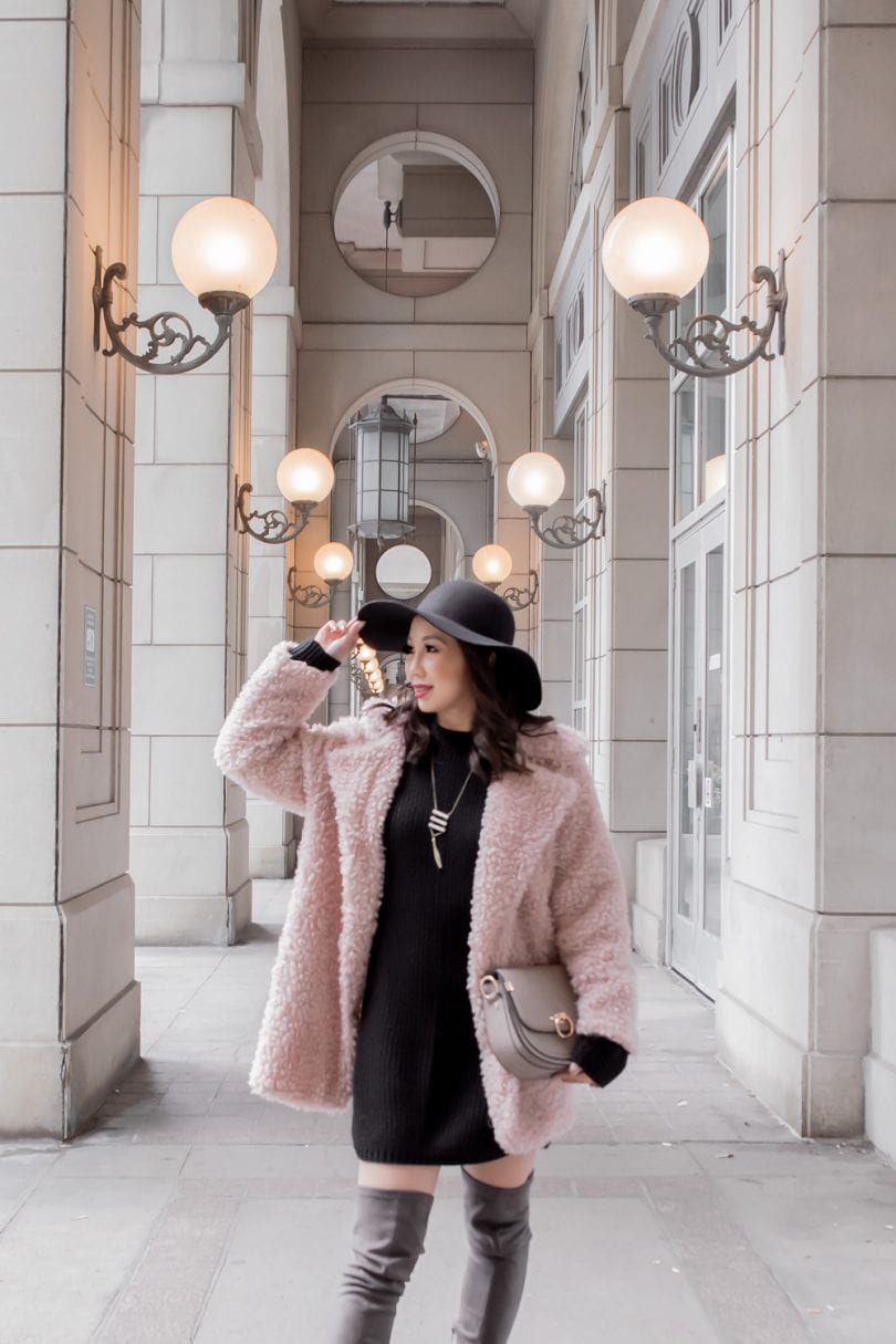 Fall Winter Outfits - Pink teddy coat, black sweater dress, OTK boots and floppy hat