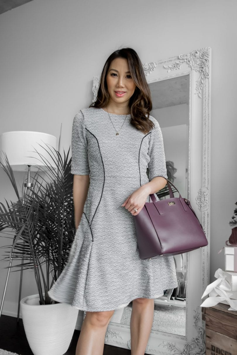 #OOTD for the office - grey dress and purple Kate Spade bag