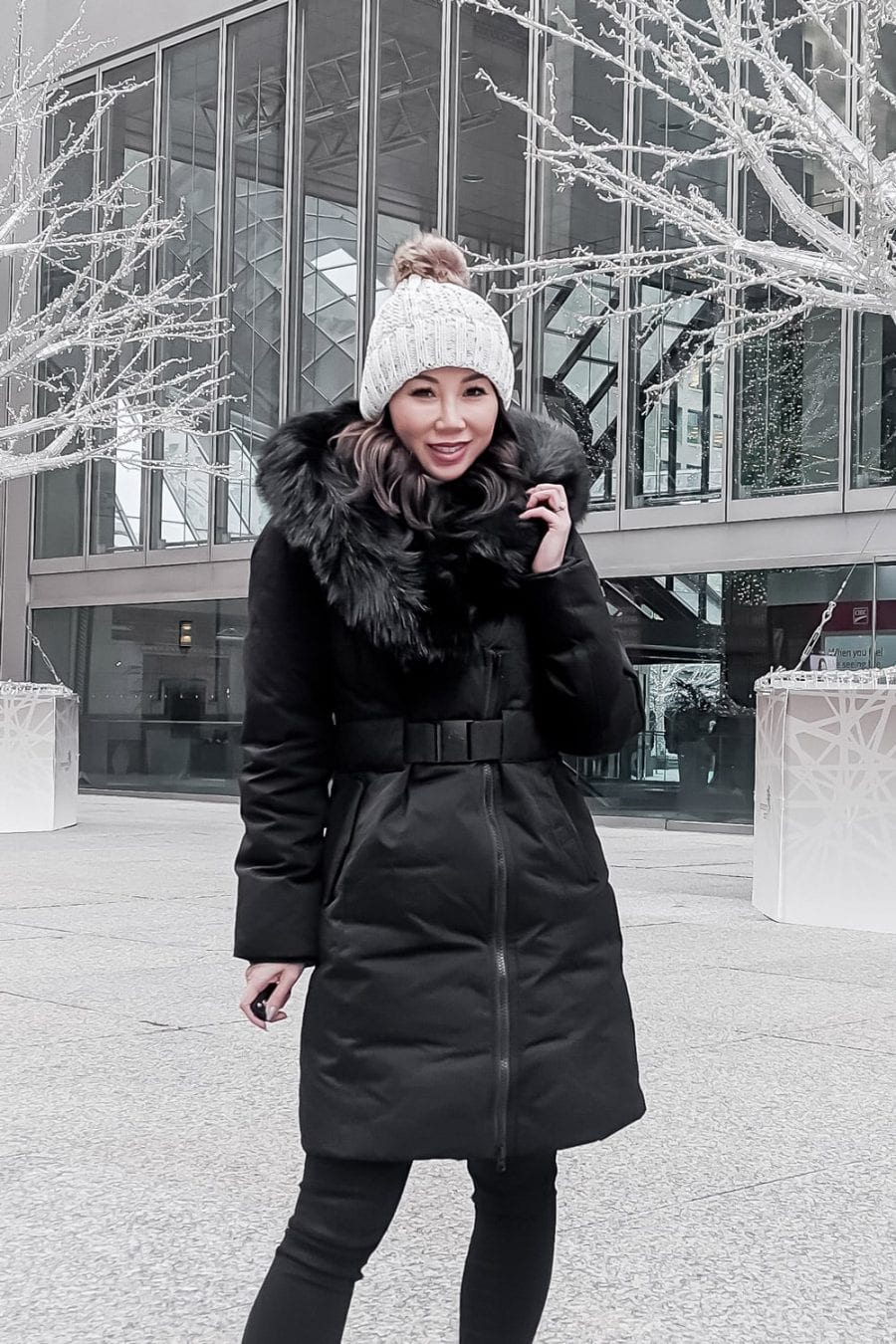 Winter Coat OOTD - Black parka, furry boots and beanie