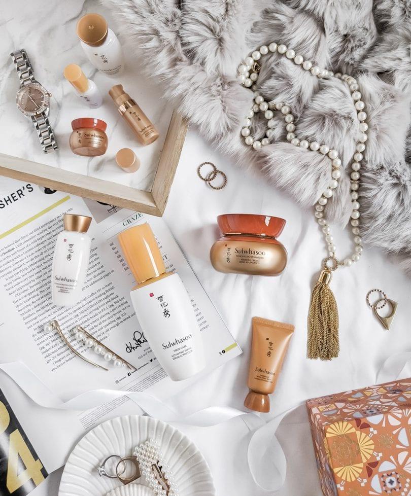 Sulwahsoo skincare set - beauty makeup flatlay