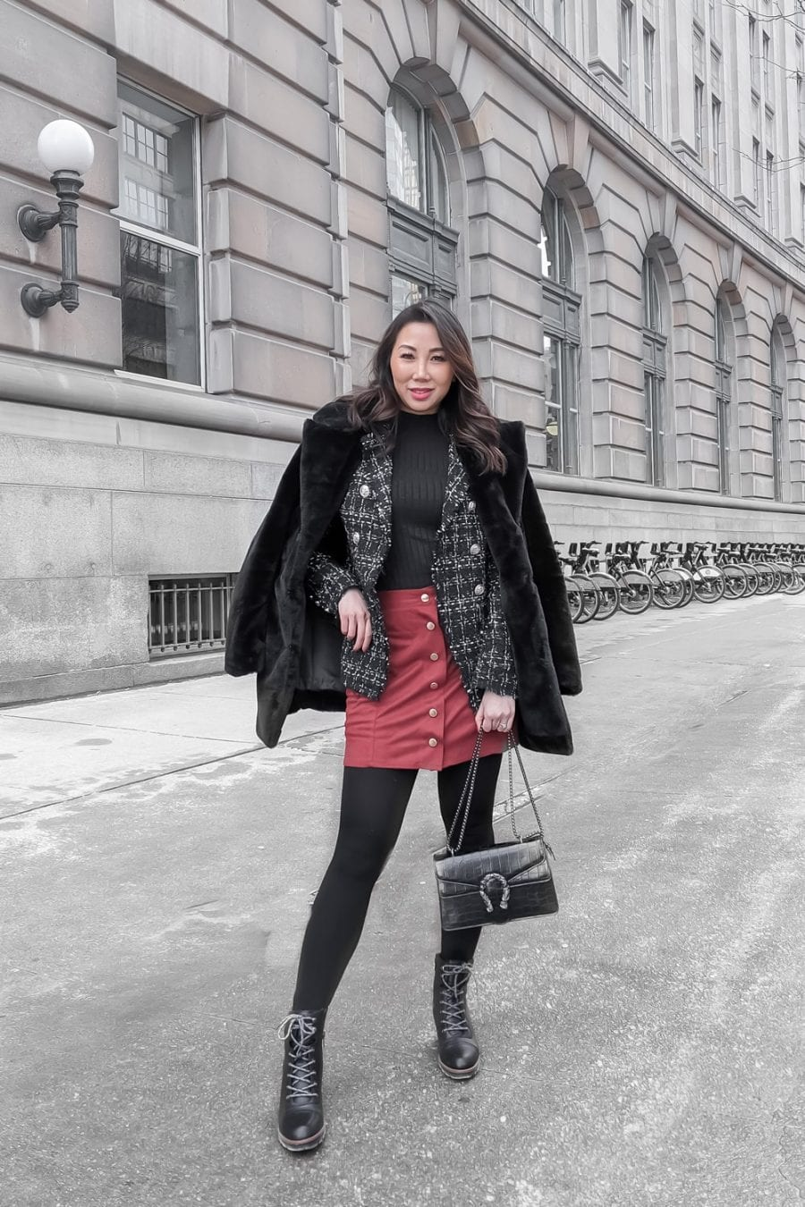 Winter Outfit Ideas - Layering your winter coats for a fun textured look.