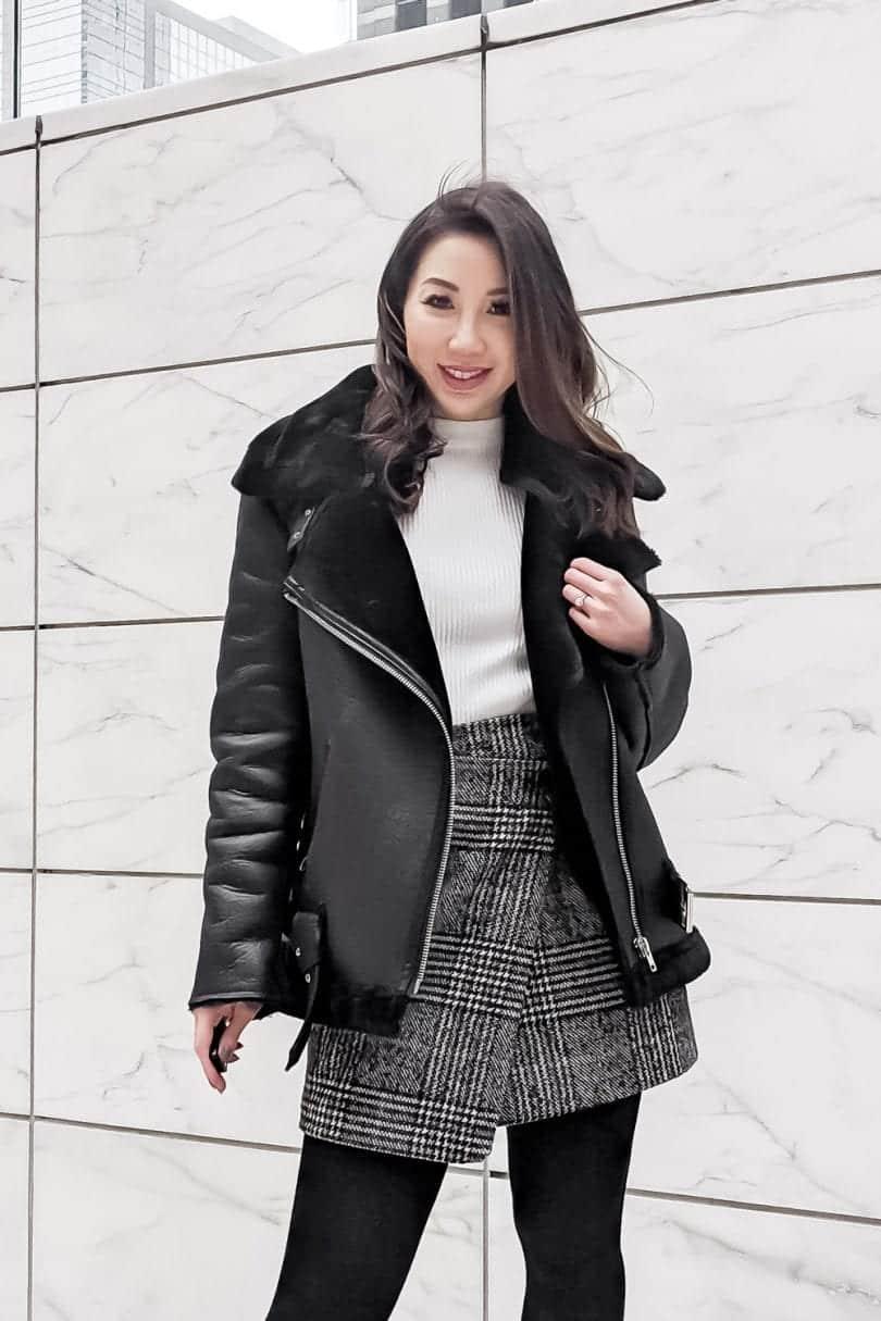 Winter Coat Roundup - Black Shearling Moto Coat with Plaid Skirt - YesMissy