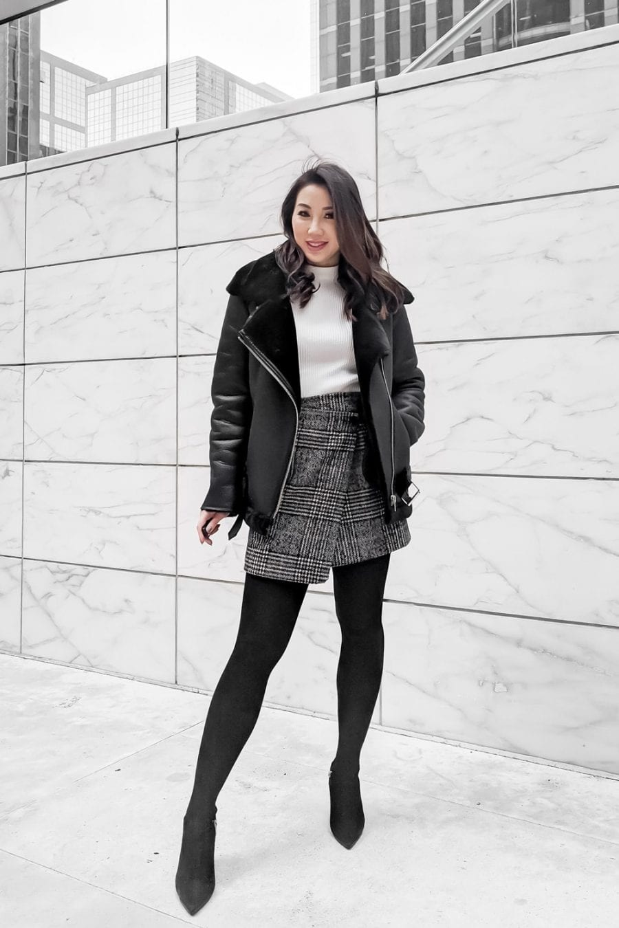 Winter Coat Roundup - Black Shearling Moto Coat with Plaid Skirt - YesMissy