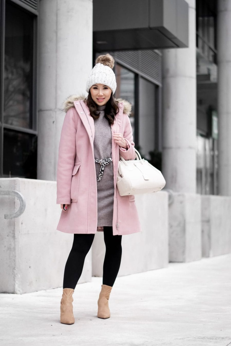 Womens Winter Coat Outfit: Pink wool parka, tan ankle boots