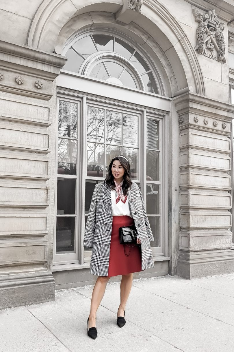 Valentine's Day Outfit with red skirt and houndstooth coat from Ann Taylor styled by Lifestyle Blogger Eileen Lazazzera of YesMissy