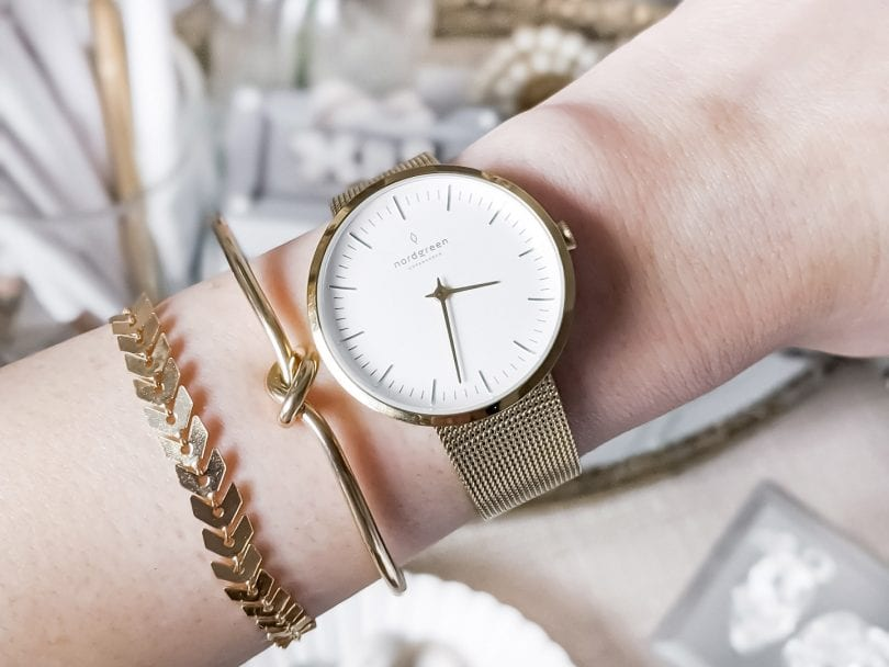 A closeup view of the Nordgreen Gold Infinity Watch in a review by LIfestyle Blogger YesMissy