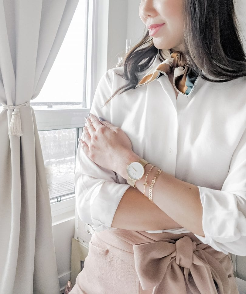 Minimalist styled look wearing the Nordgreen watch, white blouse and pink pants by Lifestyle Blogger Eileen Lazazzera of YesMissy