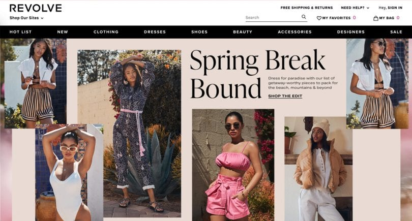 REVOLVE carries some of fashion's most coveted brands in their online store. They carry has both women's and men's designer clothing and accessories, as well as an eclectic mix of lifestyle goods.