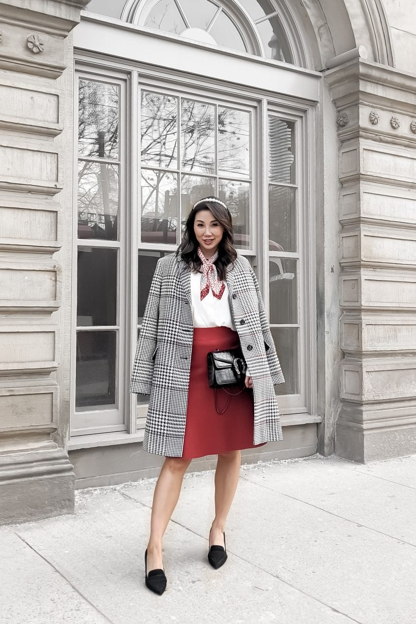 Workwear look from Ann Taylor for Valentine's Day styled by Lifestyle Blogger Eileen Lazazzera of YesMissy