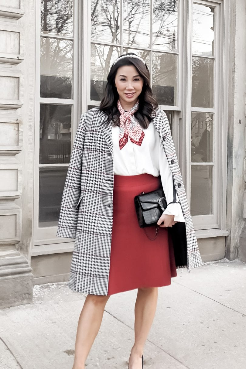 Chic work outfit with white blouse, red flared skirt and plaid coat from Ann Taylor worn by Canadian Blogger Eileen Lazazzera of YesMissy