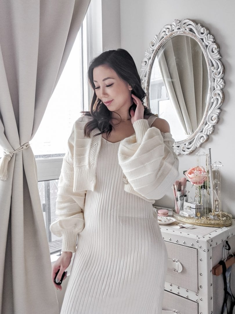 Weekend casual look: cozy sweater dress and puff sleeve cardigan set for a casual cozy look