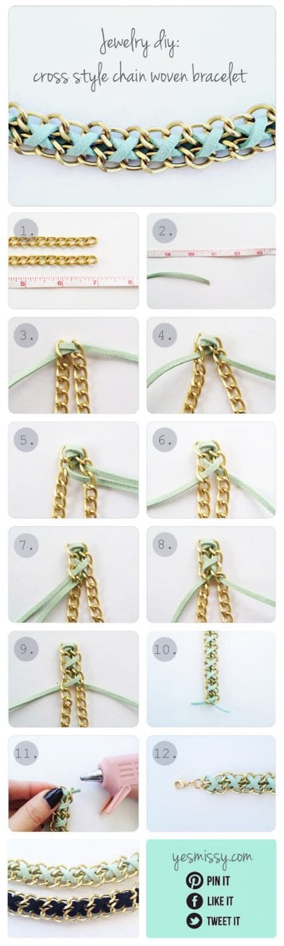DIY Fashion Projects for summer - chain and suede braclet tutorial