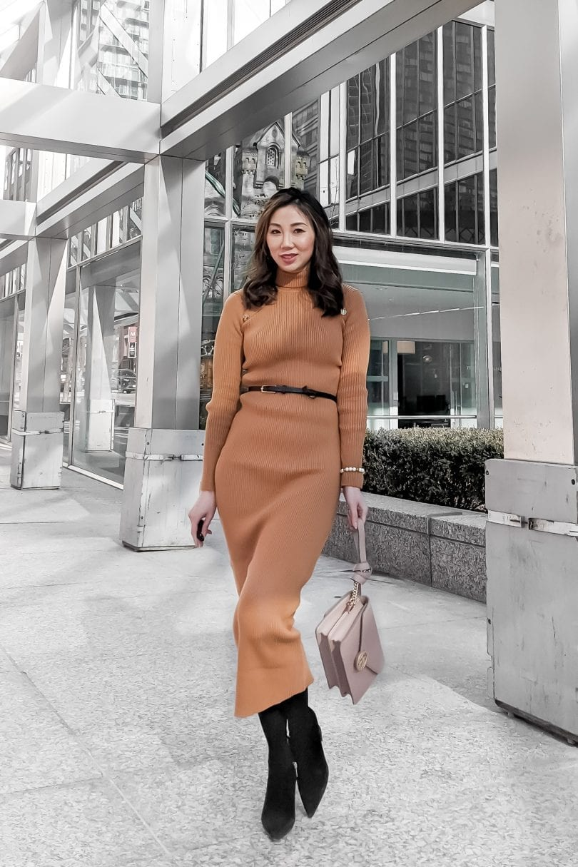 Workwear office OOTD - sweater maxi dress, headband and boots with clutch - Canadian Blogger YesMissy