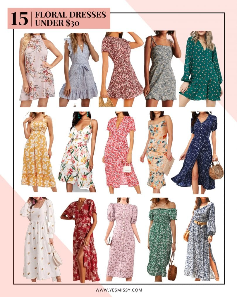 A round up of affordable floral dresses under $30. Mini dreses, midi dresses and maxi dresses!