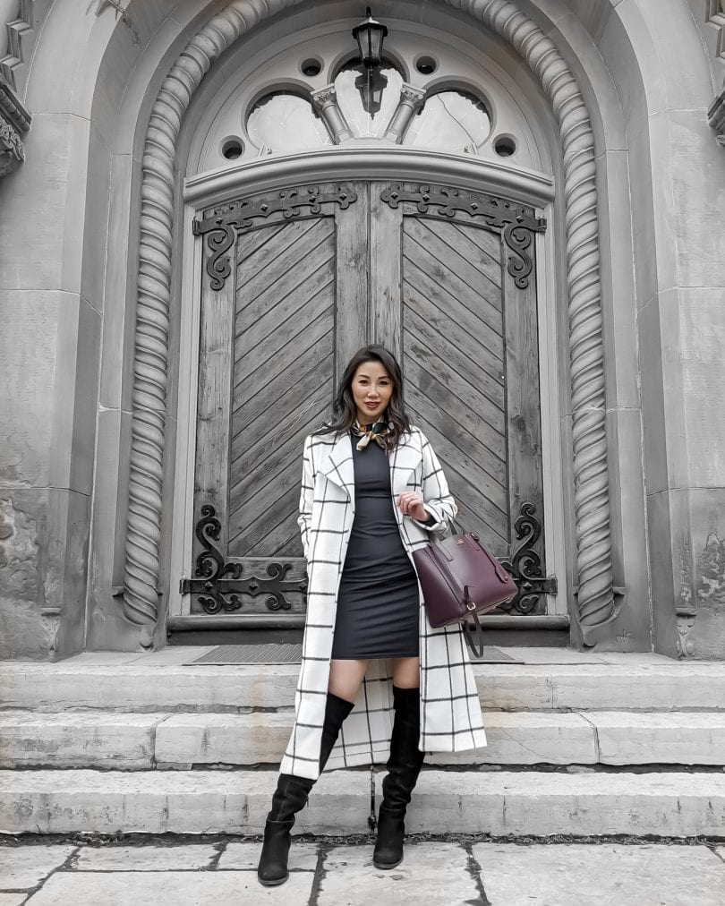 Chic workwear style for the office - Long checkered white coat, navy turtleneck dress OTK style by Eileen Lazazzera of YesMissy.com