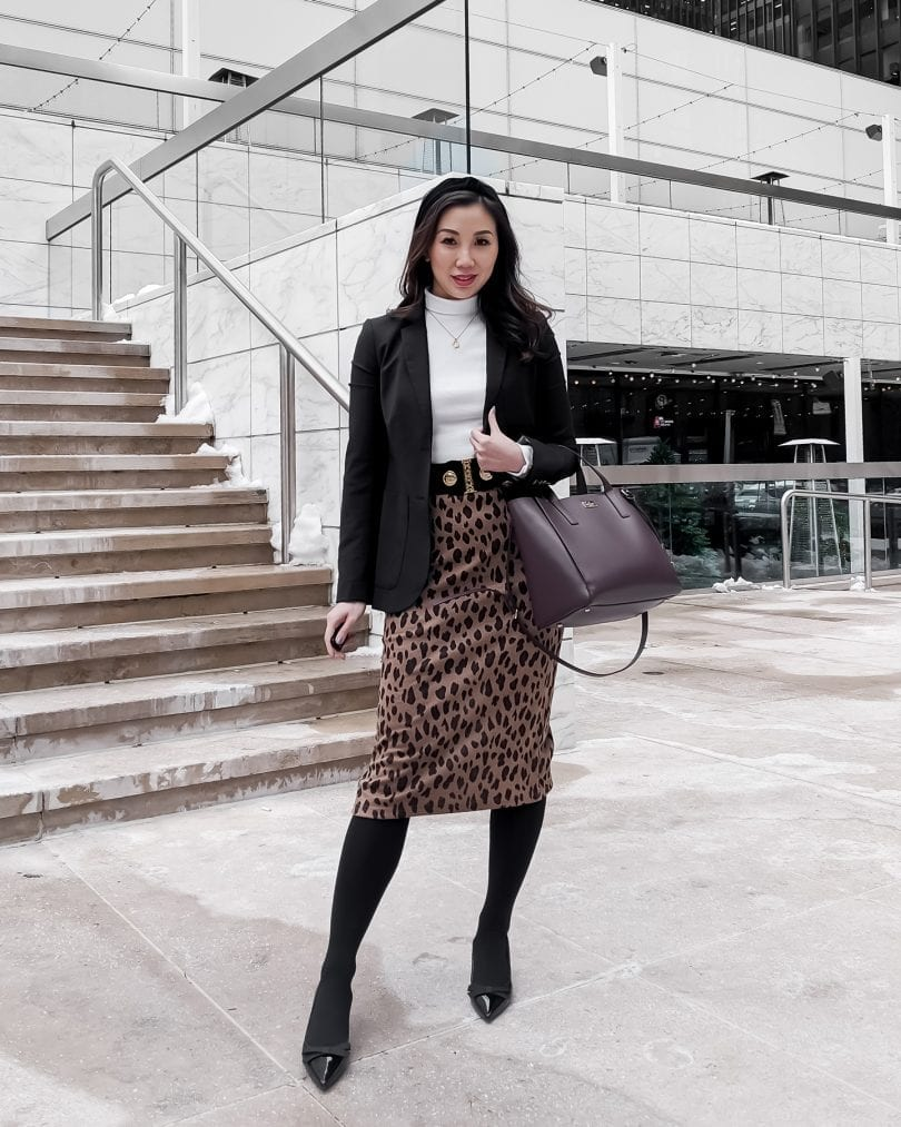 Workwear office outfit with leopard pencil skirt, white turtleneck and blazer styled by Lifestyle Blogger Eileen Lazazzera of YesMissy.com