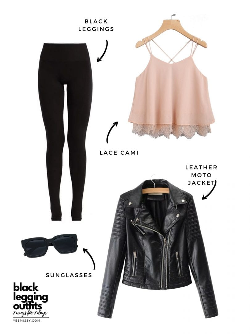 black leather legging outfits with leather jacket and lace cami - perfect for a date night