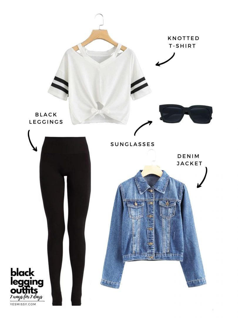Weekend casual black tights outfit with denim jacket