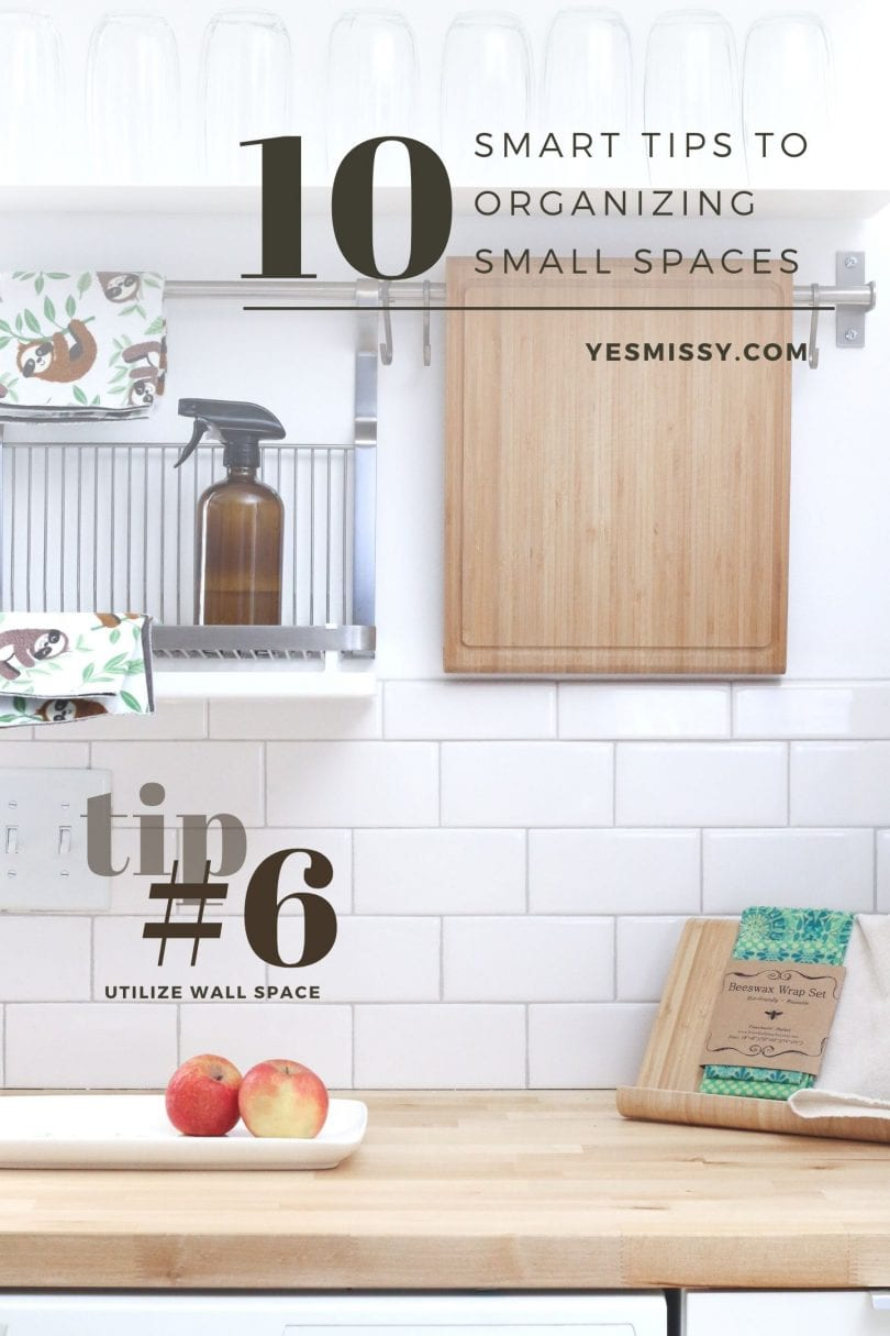 Tip on how to organize small a small kitchen.. tip #6 utilize wall space. Read more at yesmissy.com