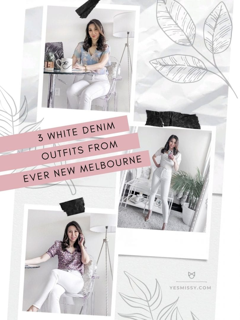 Ways to wear white jeans for work - Summer office and WFH outfits from Ever New styled by Canadian lifestyle blogger Eileen of YesMissy.com