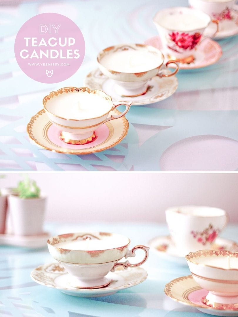 DIY teacup candle tutorial - a great way to make use of those old teacups is to turn them into candles!