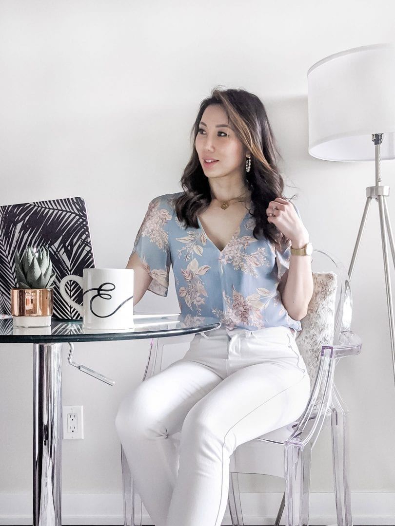 Summer outfit ideas - Floral print blouse and white jeans from Evernew styled by Canadian fashion blogger Eileen Lazazzera