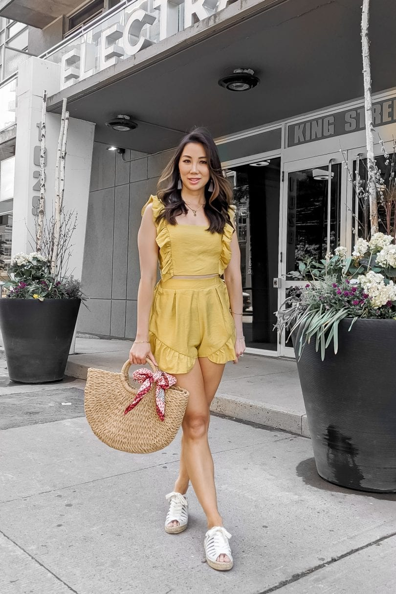 Summer outfit ideas - ruffle co-ord set in mustard yellow styled by Eileen Lazazzera of YesMissy.com