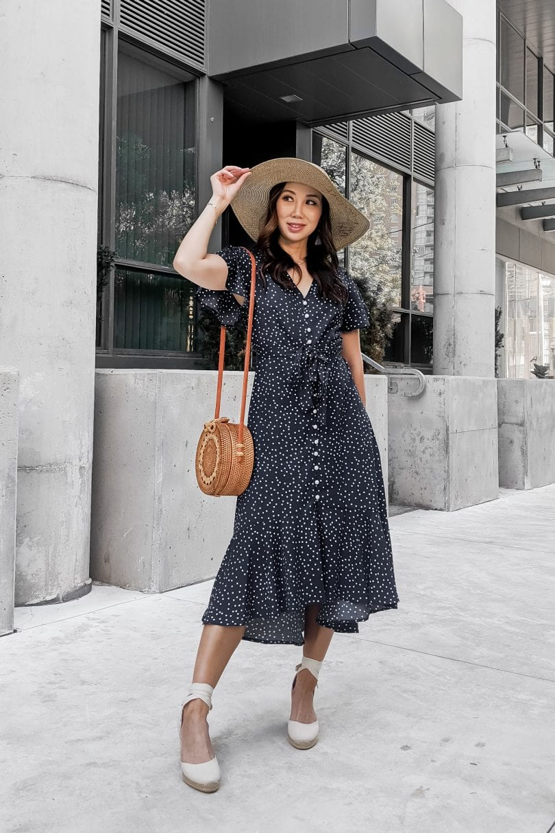 Summer outfit Inspiration - Long summer dress with polksdots and ruffles