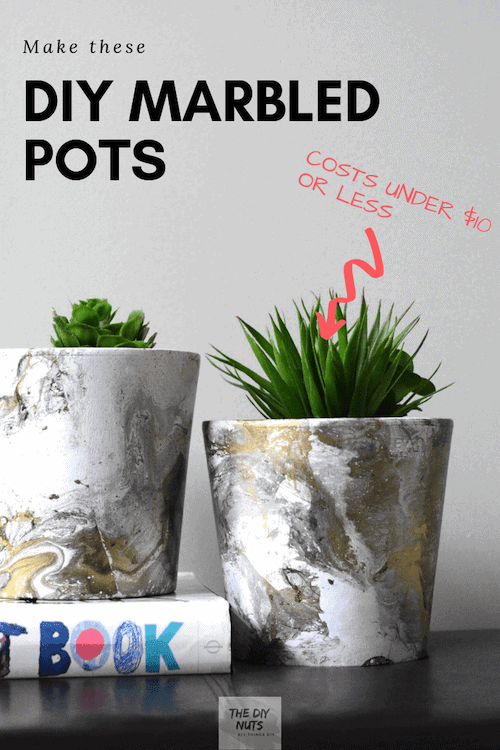 Use this tutorial to make amazing DIY marbled pots using spray paint.  This decor idea and more in this roundup for summer by YesMissy!