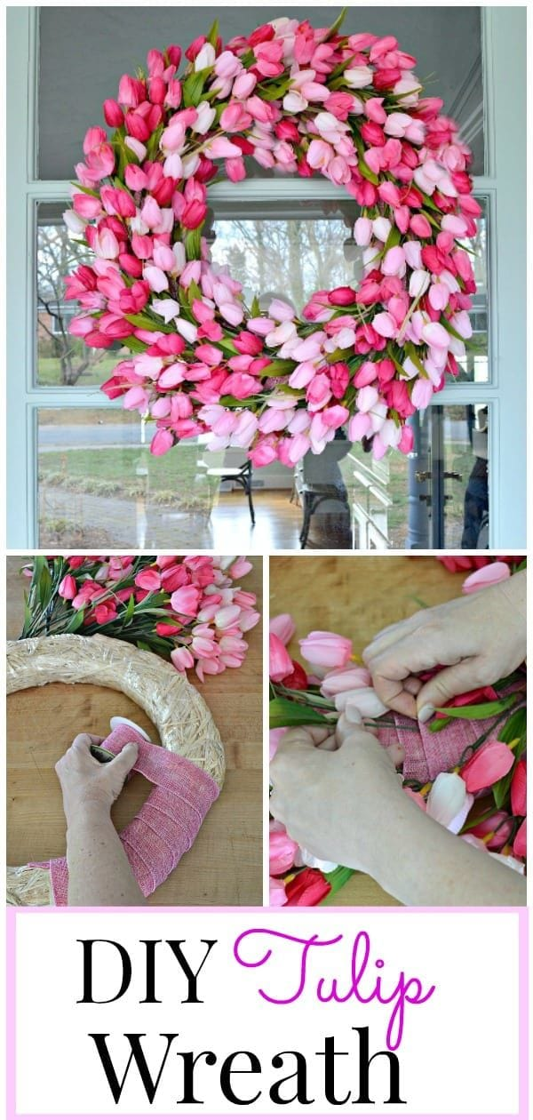 Make this beautiful DIY tulip wreath with just a few things from the dollar store!