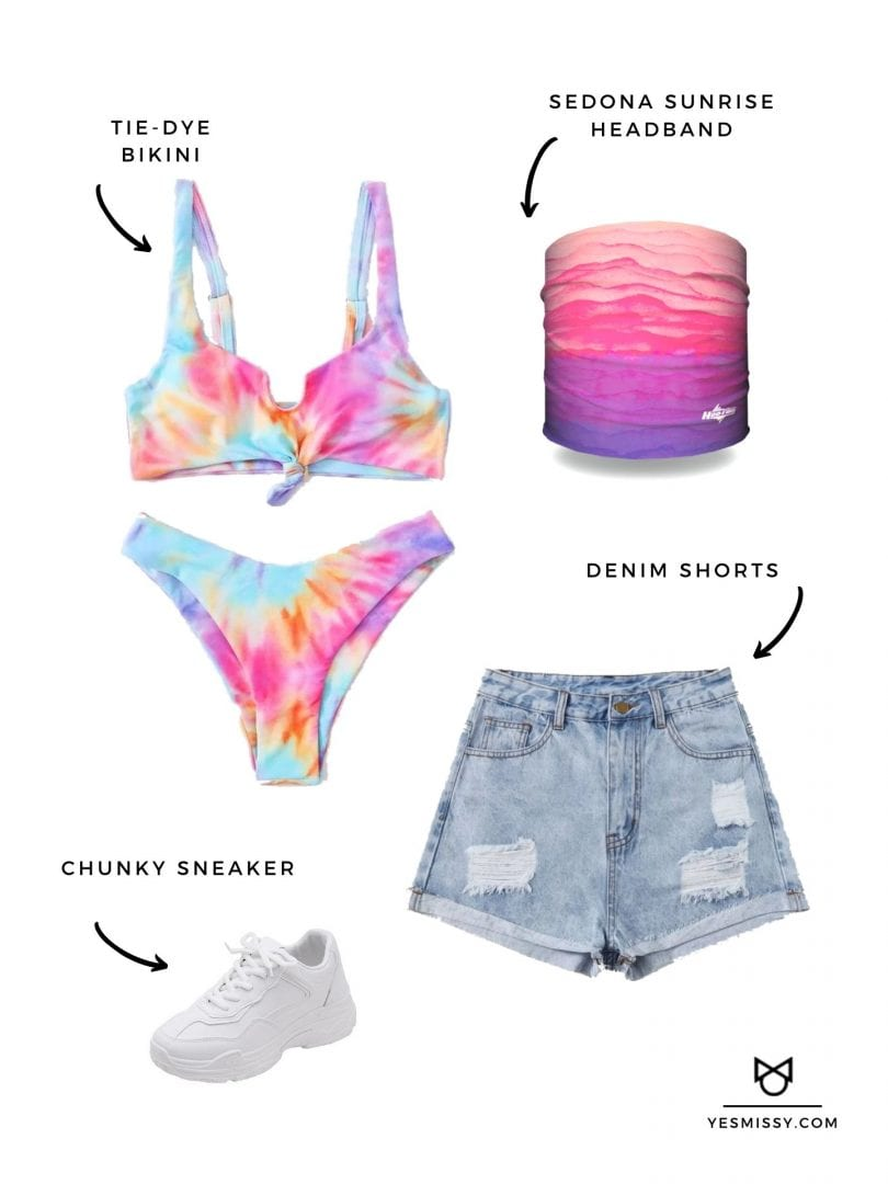 Summer beach outfit with tie-dye Bikini, denim shorts and Sedona Sunrise Headband